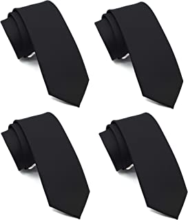 ZENXUS Solid Skinny Ties for Men, 2.5 Inch Slim Tis Basic Color 4-Pack, Solid Ties for Wedding|Party|Office|Gift