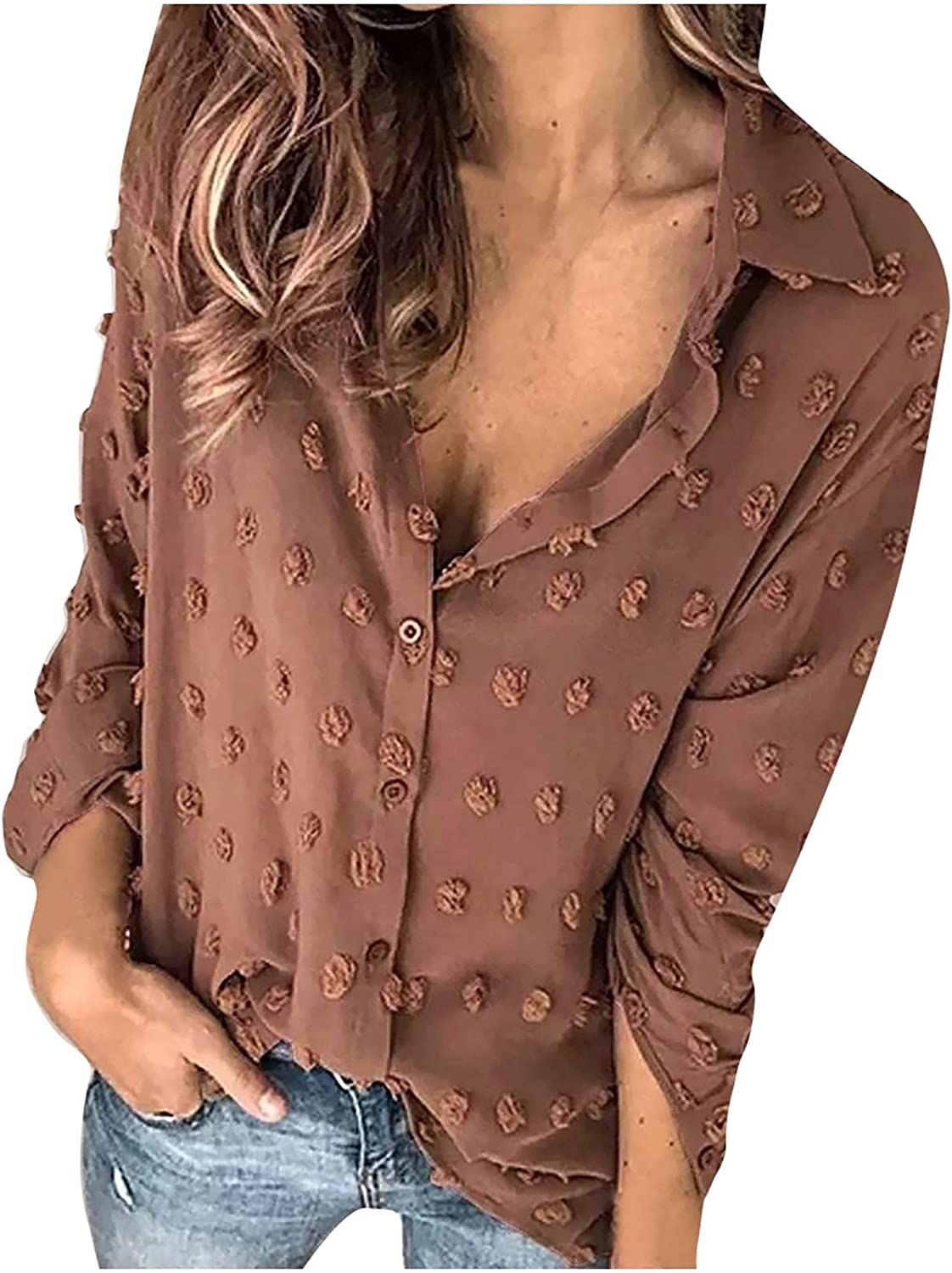 Women V-Neck Button Long Sleeve T-Shirt Summer Solid Loose Casual Blouse Tops Comfortable Tunic Tees