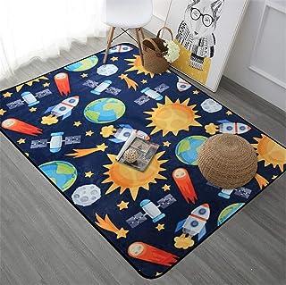Coral Velvet Plush Rugs Planet Spaceship Series Anti-Slip Carpet Exquisite Workmanship Suitable for Children Bedroom Home ...