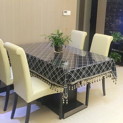 European minimalistisch modernen karierten Tischtuch Schwarz Mode-Luxus-Tischdecke Tischdecken Abdeckung Tuch-A 150x240cm(59x94inch)