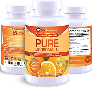 Pure Liposomal Vitamin C - 1400mg Supplement - 90 Capsules - High Absorption VIT C Ascorbic Acid Pills - Pure Micronutrients