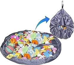Storite Kids Toys Storage Organiser Bag Cum Mat Foldable Portable Holder-56 Inch Large Storage Bag Drawstring for Magnetic Building/Blocks Convenient Fast Neat Portable - Grey