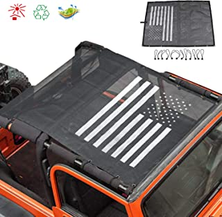 TJ Sun Shade Mesh Bikini Full Top Cover with Storage Pockets for Jeep Wrangler TJ (1997-2006) & Jeep YJ mesh top (1987-1995) (Black and White American Flag)
