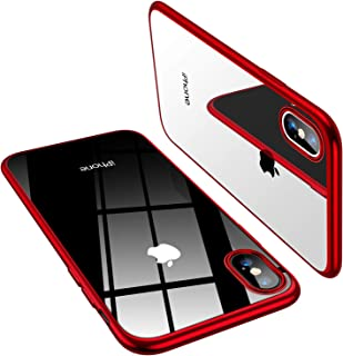 TORRAS Crystal Clear iPhone Xs Max Case, Soft Silicone TPU Thin Cover Slim Gel Phone Case for iPhone Xs Max 6.5 inch (2018) - Red