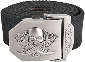 Faleto Mens Canvas Web Military Belt Outdoor Tactical Danger Skull Buckle Belts with Gift Box
