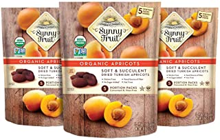 ORGANIC Turkish Dried Apricots - Sunny Fruit - (3 Bags) - (5) 1.76oz Portion Packs per Bag | Purely Apricots - NO Added Su...
