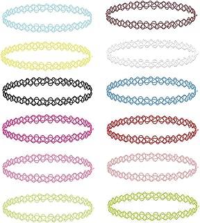 12PC Choker Necklace Set Henna Tattoo Stretch Elastic Jewelry Women Girl Jewelry Gift Pack