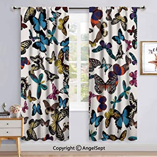 Cat Printed Curtains Room Darkening Window Panel Set,52x84 Inch Colorful Cats in Different Poses Pussycat Domestic Friends Companions Modern Illustration Multifor Sliding Door 2 Panels