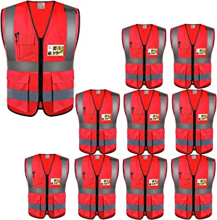 ZOJO High Visibility Safety Vests With Pockets, Wholesale Reflective Vest for Outdoor Works, Cycling, Jogging, Walking,Sports - Fits for Men and Women (Pack of 10, XL-Red)