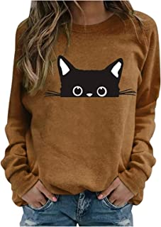 JXQ-N Sudadera con Estampado de Gato Negro Lindo para Mujer, Manga Larga, Cuello Redondo, Tops Sueltos Casuales, Camisas, ...