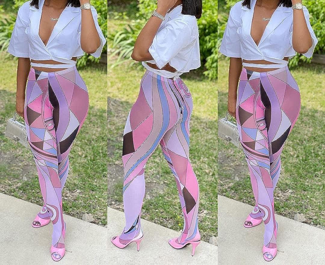 Choichic Women's High Waist Tights Multicolor Print Spandex Mesh Sheer Pantyhose Pants Leggings