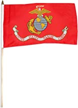 US Flag Store Marine Corps Flag 12 by 18-Inch Mounted on 24-Inch Wooden Stick