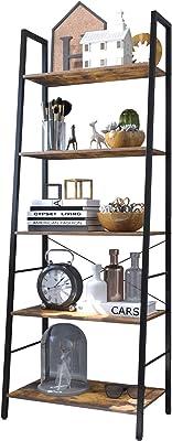 Amazon Com Haton Bookshelf 5 Tier Wood Bookcase With Metal Frames 5 Shelf Industrial Storage Shelf Organizer Modern Tall Display Shelf Racks Open Wide Standing Shelving Unit For Home Office Study 62 Inch Kitchen Dining