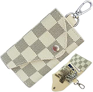6 Ring Key Case for Men Holder Wallet for Women Leather Small Mini Credit Card Holder Plaid Bag Purse Pouch Key Chain
