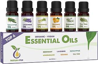 Etherische Oliën Set - 100% biologische en natuurlijke geurolie voor diffusers - aromatische olie voor aromatherapie - 6x ...