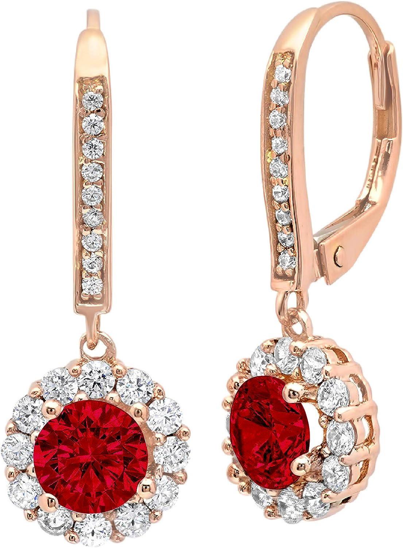 3.55 ct Round Cut Halo Solitaire Natural Deep Pomegranate Dark Red Garnet gemstone Designer Lever back Drop Dangle Earrings Solid 14k Rose Pink Gold