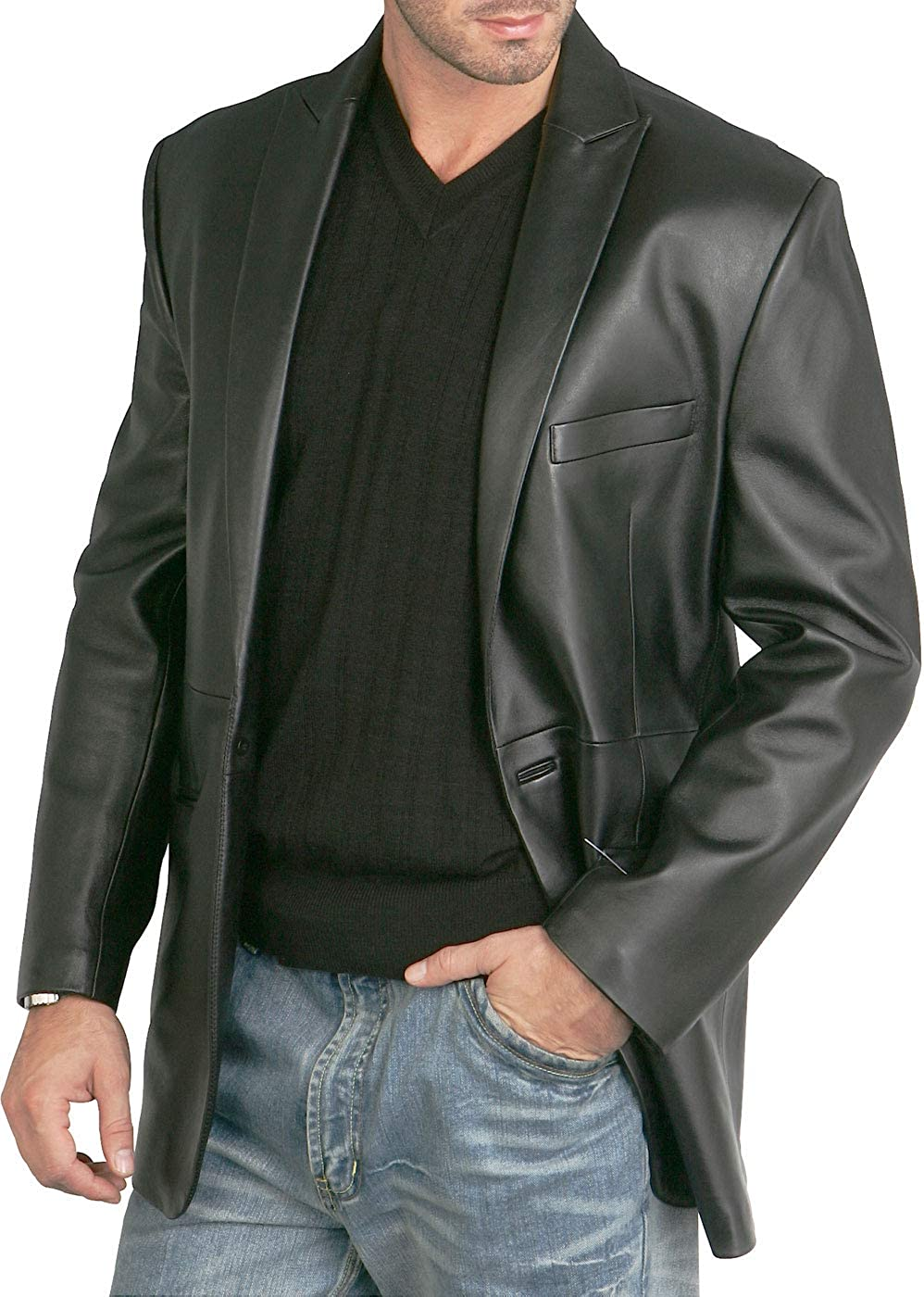 BGSD Men's Judd 1-Button Leather Blazer Lambskin Sport Coat Jacket (Regular, Big & Tall and Short)