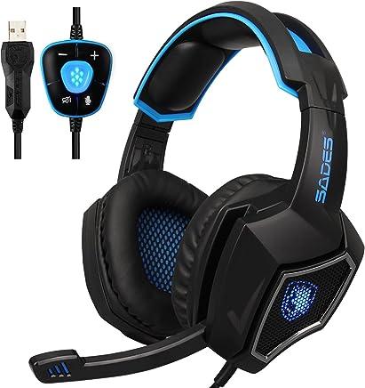 OEVAN Spirit Wolf 7.1 7.1 canale virtuale pc gaming cuffie stereo surround usb per orecchio cuffie con microfono un controllo del volume antirumore led (Black blue) - Trova i prezzi più bassi