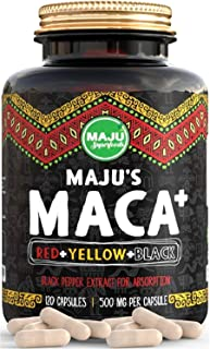 Strongest Maca Capsules, Organic Black, Yellow & Red Root w/Black Pepper Extract for Absorption, Roots Grown in Peru, Peruvian Powder, Men & Women Supplement, 60,000 mg