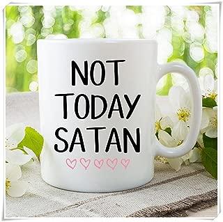 OttoRiven101 - Not Today Satan Coffee Mug, Funny Coffee Mug, Presents, Coffee, Gifts, Co-Worker Mug, Gift For Dad, Gift For Mom, Novelty Mugs, 11oz Ceramic Coffee Mug/Tea Cup, High Gloss