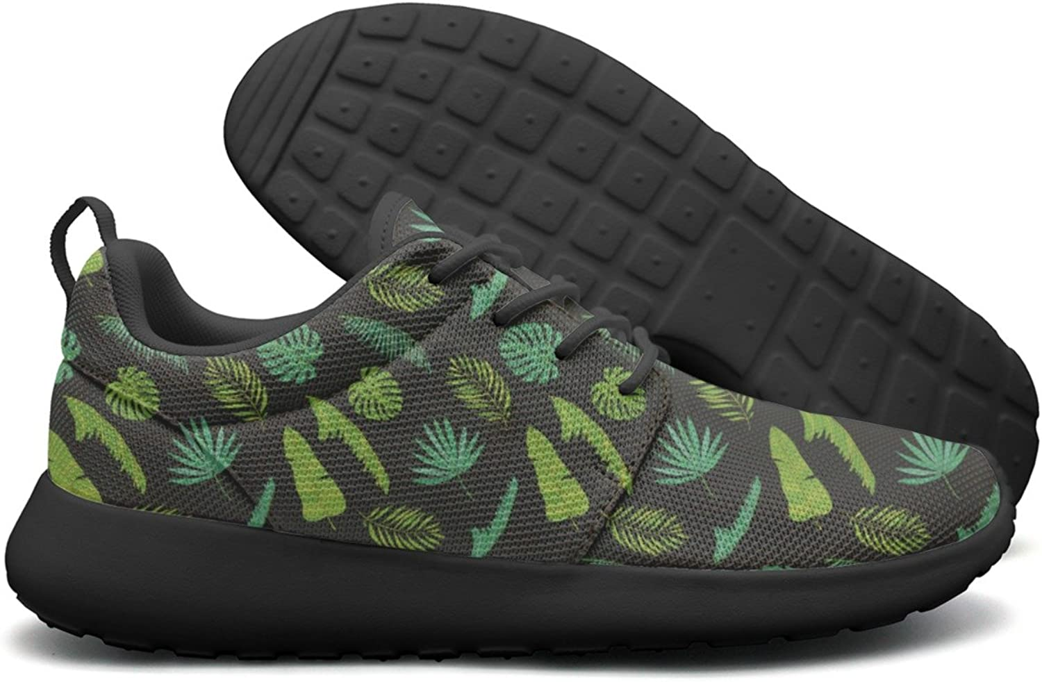 Varied Tropical Palm Leaves Womens Cool Sports Running shoes Navy Gift