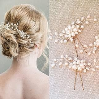 Beauy Girl Bridal Hair Pins Set, Wedding Crystal and Pearl Hair Pin for Bride and Bridesmaid (Set of 2)
