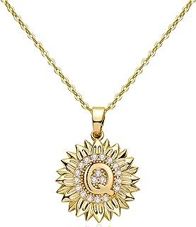 EXGOX You are My Sunshine Sunflower Necklace 14k Gold Plated Initial Sunflower Necklaces CZ Initial Letter Sunflower Locke...