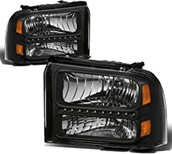 For Ford Super Duty 1st Gen F250-550 Pair Black Housing Amber Corner LED Headlight Lamp