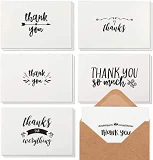 Thank You Notes with Brown Kraft Envelopes, Thank You Cards Set, Blank Inside, Handwritten Style for Baby Showers & Weddin...