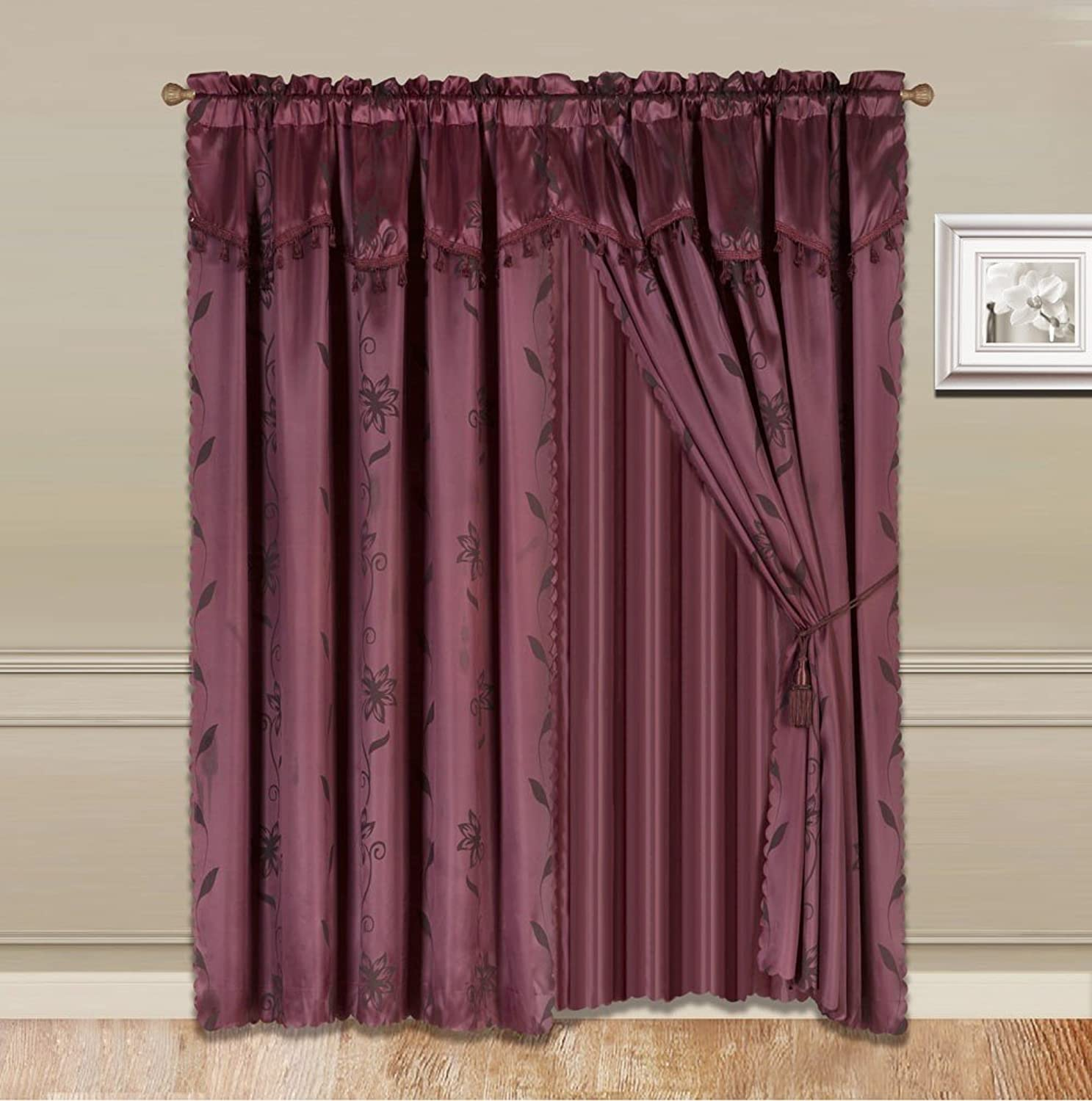 GorgeousHomeLinen 8-Piece Burgundy Nada Luxury Faux Jacquard Flower Design Panel, Rod Pocket Window Curtain Set Attached Valance, Panel, and Sheer- Includes 2 Tassels