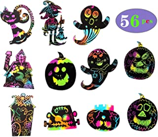 Ocosy 56Pcs Rainbow Color Scratch Halloween Ornaments Craft Kit Toys Scratch Cards Including Pumpkin, Cat, and Ghost,Haunt House and More (Halloween)