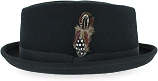 Belfry Crushable Porkpie Fedora Hat Men's Vintage Style 100% Pure Wool in Black Brown Grey Navy Pecan and Striped Band