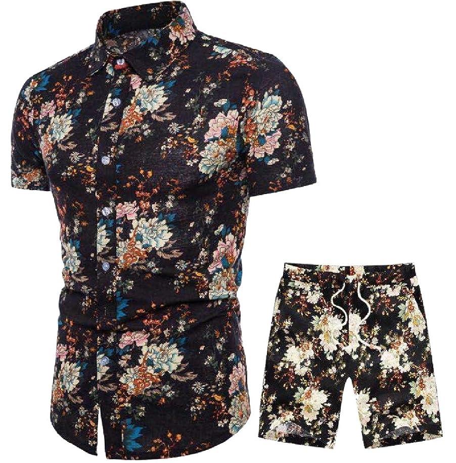 同情的通常ブロッサムKeaac メンズ夏エスニックスタイルプリントコットンとリネンシャツ+パンツトラックススーツ