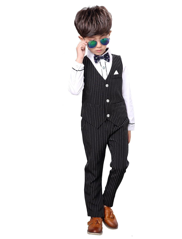 Cuteshower 男の子 フォーマルスーツ ストライプ柄 キッズ ジュニア スーツ 結婚式 発表会 七五三 入学式 卒業式 4点セット