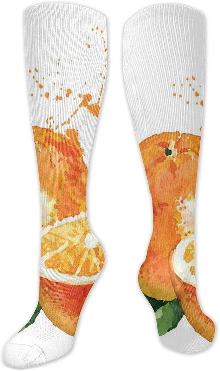 Compression High Socks-Canna Lily Flower Pattern On Blue Backdrop Blooming Foliage Best for Running,Athletic,Hiking,Travel,Flight