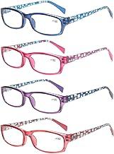 4-Pack Ladies Reading Glasses Spring Hinge Rectangular