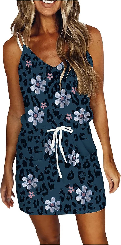 iQKA Spaghetti Strap Dresses for Women, Summer Casual Short Mini Dress V Neck Sleeveless Holiday Beach Party Dress