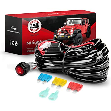 Nilight Wiring Harness Kit 14AWG Heavy Duty 12V On-Off Switch Power Relay Blade Fuse for Off Road LED Work Light Bar-ONE Lead,2 Years Warranty