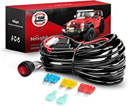 Nilight 10007W 1 Wiring Harness Kit 14AWG Heavy Duty 12V On-Off Switch Power Relay Blade Fuse for Off Road LED Work Light Bar-ONE Lead,2 Years Warranty