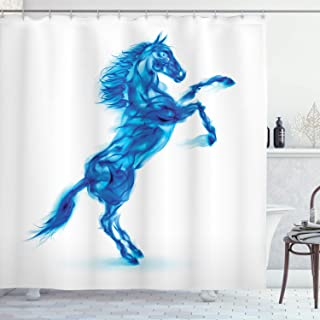 ABAKUHAUS Animal Shower Curtain, Fire House Blazing, Cloth Fabric Bathroom Decor Set with Hooks, 175 cm x 220 cm, White Da...