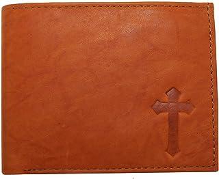 Crossメンズ本革イエスキリスト教クロスIchthysシンボル三つ折りウォレット