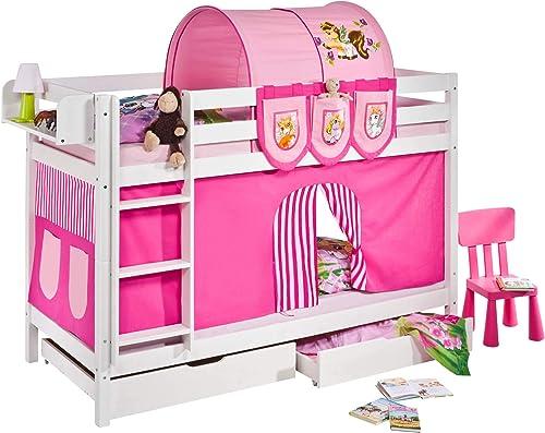 Lilokids Set Angebot - Etagenbett JELLE 90 x 190 cm Filly - Spielbett Weiß - mit Vorhang, Tunnel, Taschen und Lattenroste