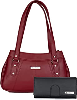Aisna Women's Combo Handbag & Clutch(Set of 2)(Maroon & Black)