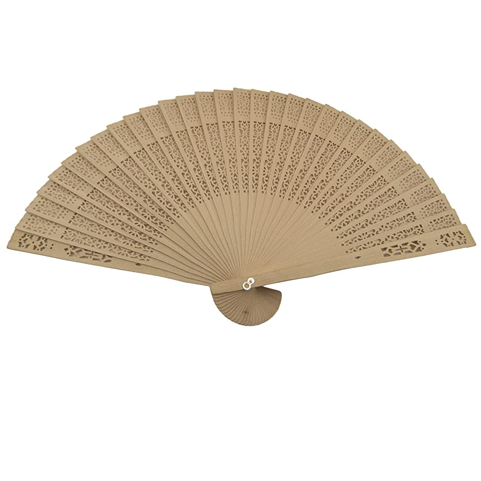 Akfal 48 pcs Summer Vintage Folding Bamboo Wooden Carved Hand Fan Wedding Bridal Party