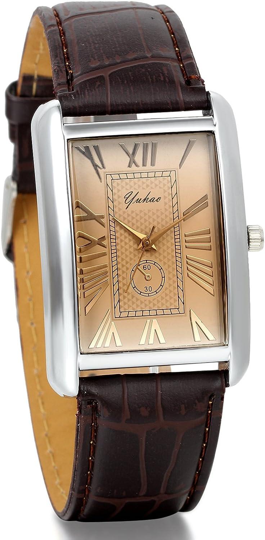 JewelryWe Clásico Relojes De Novios, Correa De Cuero Marrón, Diseño Sencillo Reloj Rectángulo, Estilo Vintage Hombre Mujer, Regalo de San Valentín