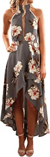 Women's Halter Neck Floral Printed High Low Beach Party Maxi Dress