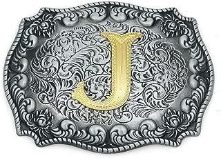 Western Belt Buckle Initial Letter ABCDJMS to Z- Cowboy Rodeo Belt Buckles for Women Men
