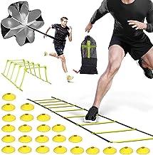 Agility Ladder Speed Ladder 6M 12-Rung met Weerstand Parachute 24 Disc Kegels, 5 Hurdle Frame voor Kinderen Volwassenen ...