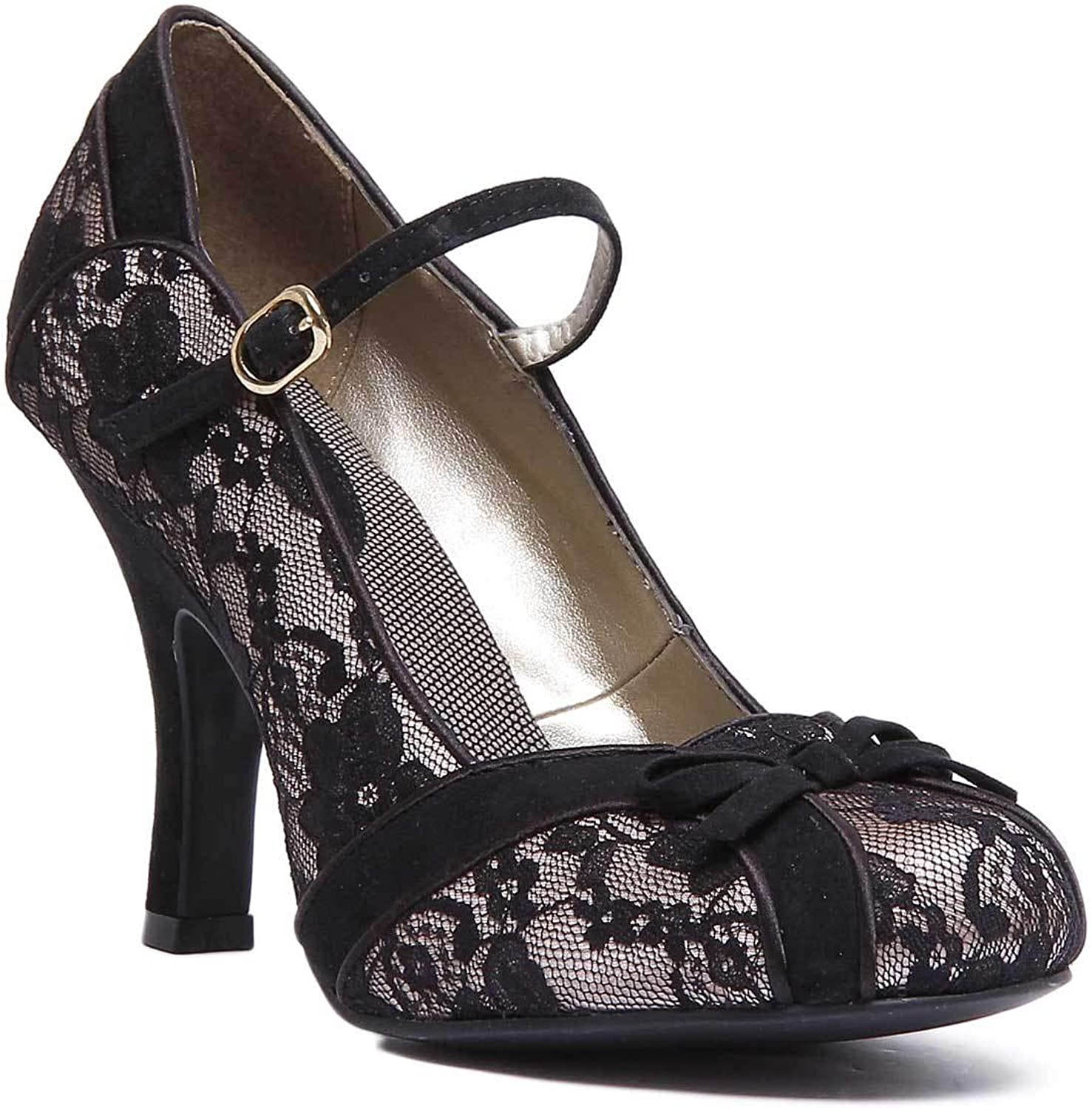 Ruby Shoo Womens Cleo Lace Black high Heel Court shoes Size