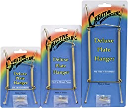 Deluxe Plate Display Hangers - 3 Different Sizes Assortment - Assembled & Ready To Use - Hang 5 to 14 Inch Plates - Gold Wire Spring Type, Hanger Hooks & Nails Included -Pack of 3 Hangers